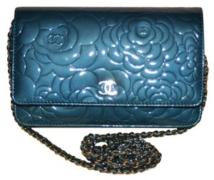 Chanel Woc Wallet On A Clutch Camellia Flower Patent Quilted Leather Silver Hardware Shw Handbag 11p 2011 Spring Boy Coco Cross Body Bag