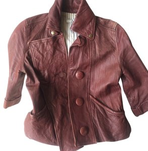 Mike & Chris Cropped Burgundy Leather Jacket