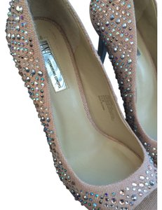 INC International Concepts Glitter Sexy Rhinestones Heels Open Toe Dusty Pink Iridescent Bling Aurora Borealis Gemstone Bling Pumps