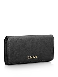 a9bd7e57b9ac28 Calvin Klein Calvin Klein Galey Saffiano Leather Continental Wallet In Black