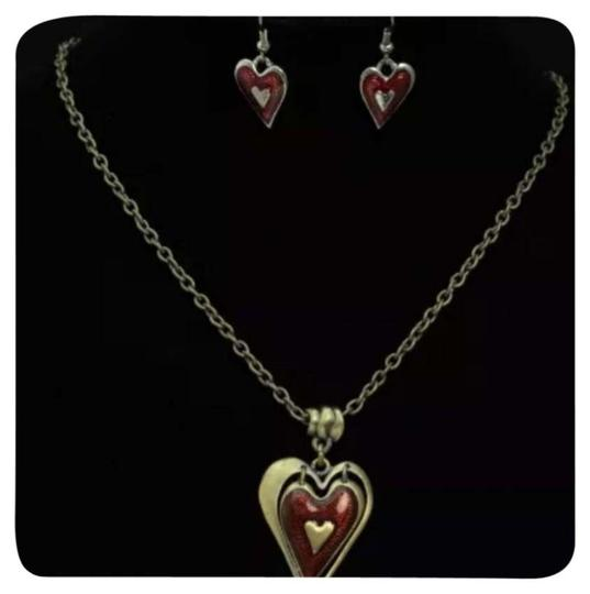 Other NEW Red Enamel Heart & Antique Gold Necklace & Earring Set