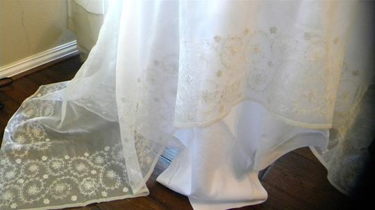 White Sheer with Floral Border Tablecloth