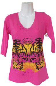 Hybrid Apparel Pink Tiger Animal T Shirt pink, orange, yellow, black