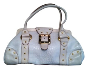 Michael by Michael Kors Leather Metallic Hardware Satchel in White
