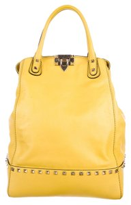 Valentino Rockstud New Dome Satchel in Yellow