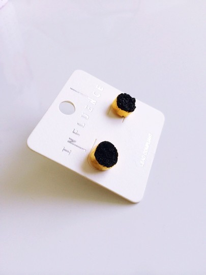 Influence Black and Gold Druzy Earrings
