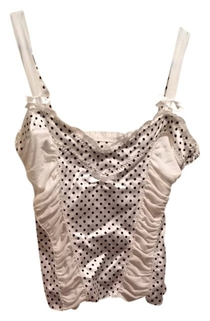 bebe Polka Dot Bow Ruffle Silk Bustier Top White/Black