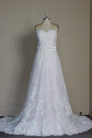 Ivory Lace Pink Blush Rose Quartz Lining Tulle Sparkle Net Chantilly Overlay Slim Aline Sweetheart Strapless White 6/8 Sexy Wedding Dress Size 6 (S)