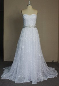 All Lace Lightweight Strapless Sweetheart Sexy Gathered Sz6/8 Ballgown Wedding Dress