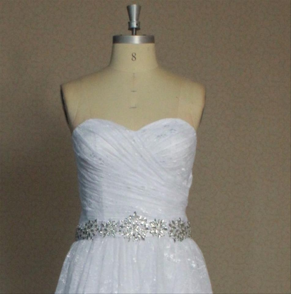 All Lace Wedding Dress: White Chantilly Lace All Lightweight Strapless Sweetheart