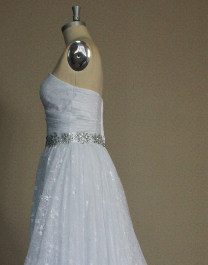 White Chantilly Lace All Lightweight Strapless Sweetheart Gathered Sz6/8 Ballgown Sexy Wedding Dress Size 6 (S)