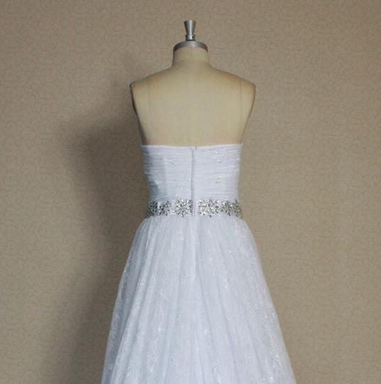 White Chantilly Lace All Lightweight Strapless Sweetheart Sexy Gathered Sz6/8 Ballgown Vintage Dress Size 6 (S)