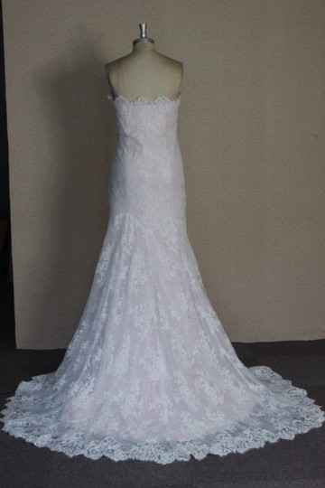Ivory Lace Blush Rose Quartz Lining Tulle All Sexy Slim Lightweight /8 Vintage Wedding Dress Size 6 (S)