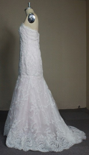 Ivory Lace Blush Rose Quartz Lining Mermaid All Sexy Strapless 6/ White Fit and Flare Feminine Dress Size 8 (M)