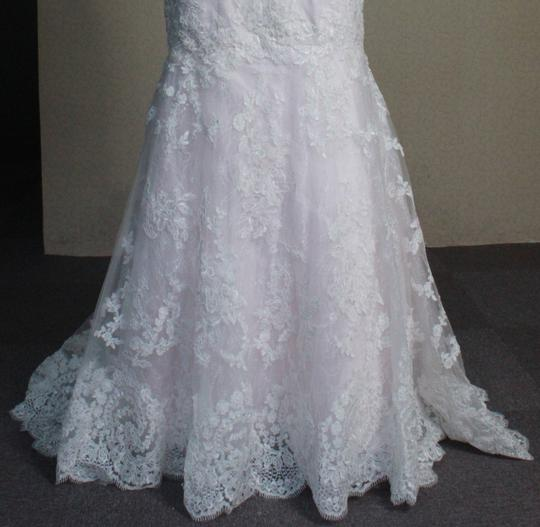 Ivory Lace Pink Blush Rose Quartz Lining Mermaid All Strapless 6/8 White Fit and Flare Sexy Wedding Dress Size 8 (M)