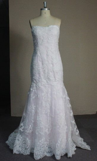 Ivory Lace Pink Blush Rose Quartz Lining Charmuse Mermaid All Strapless 6/8 White Fit and Flare Sexy Wedding Dress Size 8 (M)