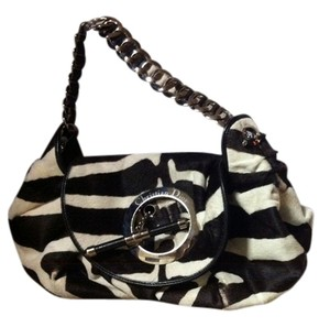 Christian Dior Zebra Leather Satchel in Black White