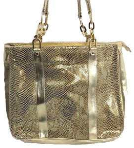 Diane Gilman Womens Leather Snakeskin Print Handbag Purse Tote in Gold