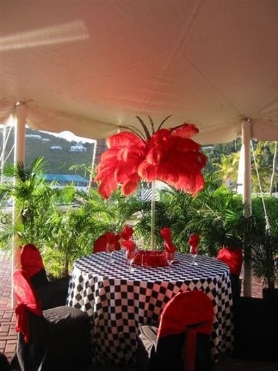 Ostrich Feather Centerpieces- Red Black And White