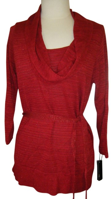 Preload https://img-static.tradesy.com/item/527355/agb-red-xl-day-shine-belted-cowl-neck-shimmer-glimmer-sweaterpullover-size-18-xl-plus-0x-0-1-650-650.jpg