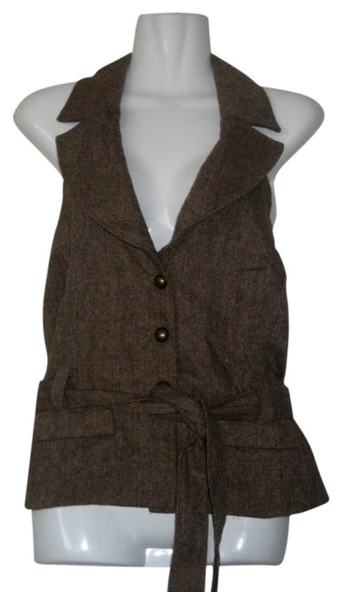 Forever 21 Tweed Belted Vest Top Brown