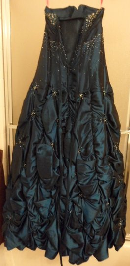 Maggie Sottero Teal Taffeta Brielle Formal Bridesmaid/Mob Dress Size 8 (M)