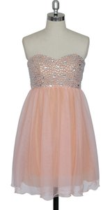 Peach Crystal Beads Bodice Sweetheart Short Chiffon Dress