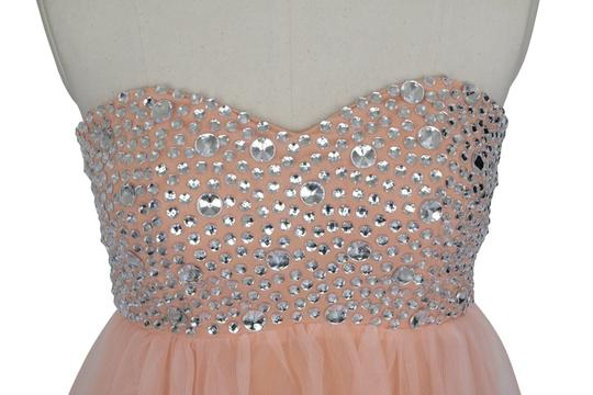 Peach Chiffon Crystal Beads Bodice Sweetheart Short Modern Dress Size 14 (L)
