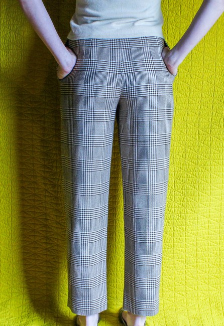Valentino Italy Vintage Trouser Pants Cream & Brown Houndstooth