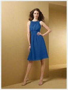 Alfred Angelo Mediterranean Blue Chiffon Satin Aa7053 Traditional Bridesmaid/Mob Dress Size 2 (XS)