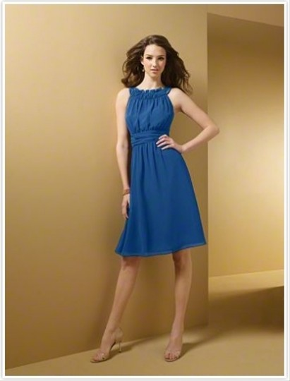 Alfred Angelo Mediterranean Blue Chiffon Satin 7053 Traditional Bridesmaid/Mob Dress Size 2 (XS)