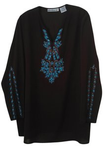 Denim 24/7 Beaded Tunic Top Chocolate Brown with Turquoise Beading