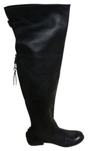 Mea Shadow Leather Soft Lux Flat Over The Knee black Boots