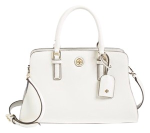 Tory Burch Robinson Satchel in Ivory Navy