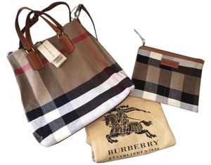 Burberry Canvas Check Saddle Tote Cross Body Bag