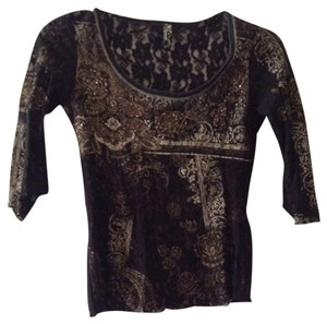 Vanilla Sugar Beaded Lace Top Black & Tan
