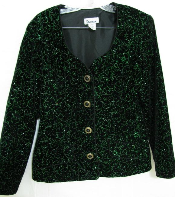 Patra Usa Jacket Sparkle Glitter Event Special Occasion Mother Of The Bride 10 M Metallic Floral Buttoned Glamour Gold black green Blazer