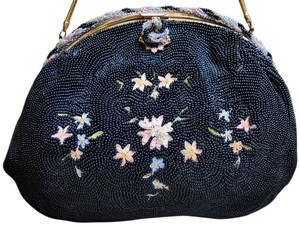 French Hand Beaded Embroidered Glass Beads Micro Beads Black Gold Satin Interior 1920 Point De Beauvais Flowers Gold Handle black/multi Clutch