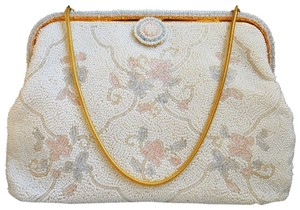 French France Pastel Hand Beaded white/multi Clutch