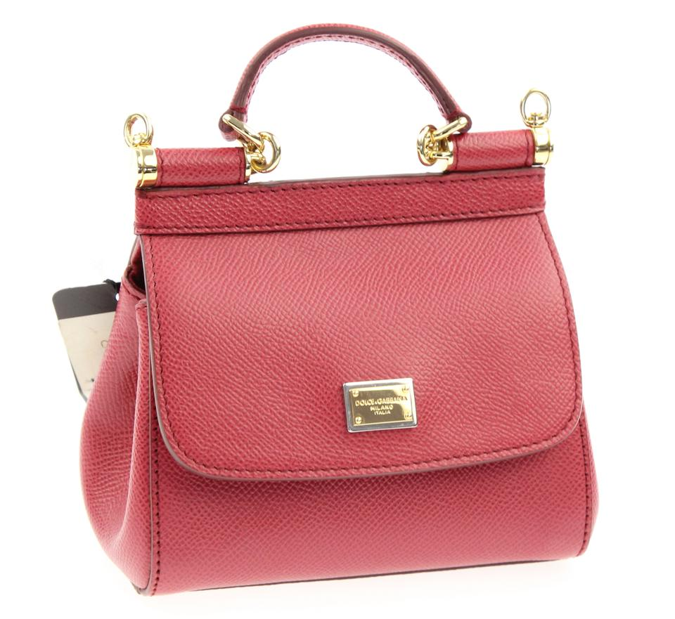 Dolce Gabbana Miss Sicily Mini Red Leather Cross Body Bag - Tradesy 89228a161af61
