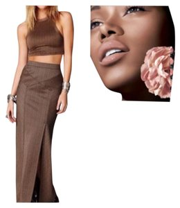 Free People Boho Hippie Bohemian Slimming Maxi Skirt Brown