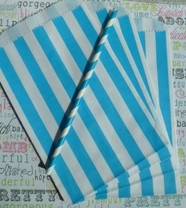 Turquoise/Blue 100 Striped Paper Gift Bags (Wedding Favors)