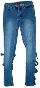 Betsey Johnson Straps Low Rise Wash P1613 Skinny Jeans-Medium Wash