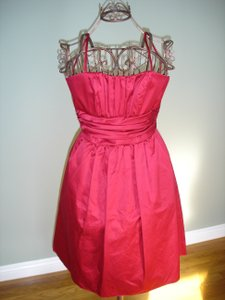 David's Bridal Apple Red Cotton Sateen Strapless with Ruching and Pockets Style 83312 Feminine Bridesmaid/Mob Dress Size 6 (S)