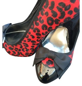 White House | Black Market Fur Animal Sexy Black & Red Cheetah print Platforms