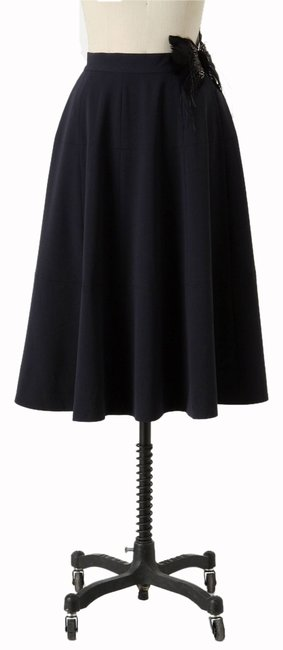 Anthropologie Cartonnier Feathered A-line Pheasant Drape Knit Circle Side Zip Romantic Vintage Maxi Skirt