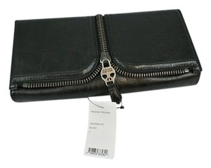 Alexander McQueen Leather Zipper Skull Black Clutch