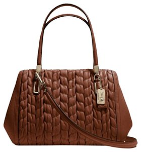 Coach Madison Chevron Brown Leather Satchel in chestnut