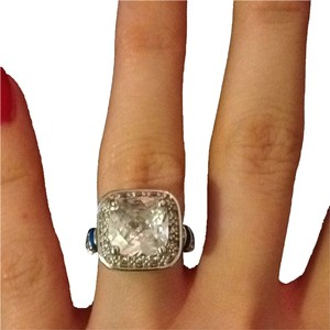 Lauren G Adams Size 5 Lauren G Adams CZ Cushion Halo And Blue Enamel Ring