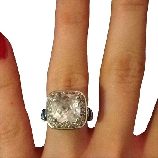 Preload https://item5.tradesy.com/images/lauren-g-adams-silvertone-and-blue-size-cz-cushion-halo-enamel-ring-528399-0-1.jpg?width=440&height=440